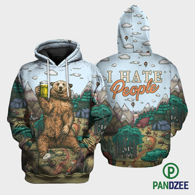 Bear I Hate People Sublimation Shirt for Men and Women - Pandzee