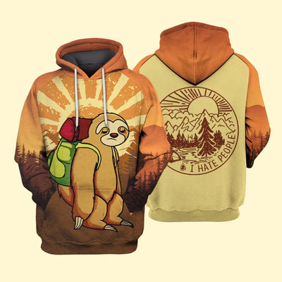 Camping Sloth I Hate People Sublimation Shirt for Men and Women - Pandzee