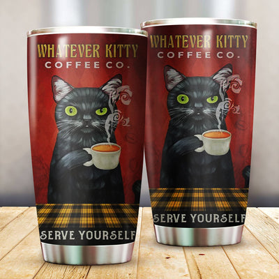 Cat- Whatever Kitty Coffee Tumbler Cup - Pandzee