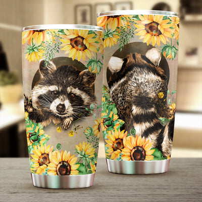 Raccoon Sunflowers Tumbler Cup - Pandzee