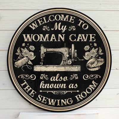 The Sewing Room Round Wood Sign - Pandzee