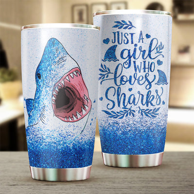 Just A Girl Who Loves Sharks Glitter Tumbler Cup - Pandzee