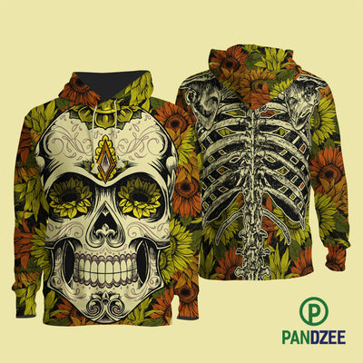 Skull Sun Flower Sublimation Shirt for Men and Women - Pandzee
