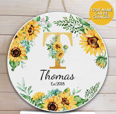 Name Letter Flower Custom Round Wood Sign - Pandzee