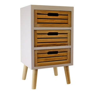 3 Drawer Unit In White With Natural Wooden Drawers With Removable Legs