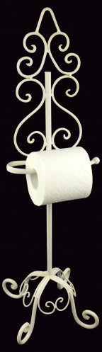 Toilet Roll Holder Stand Antique White Finish 78cm
