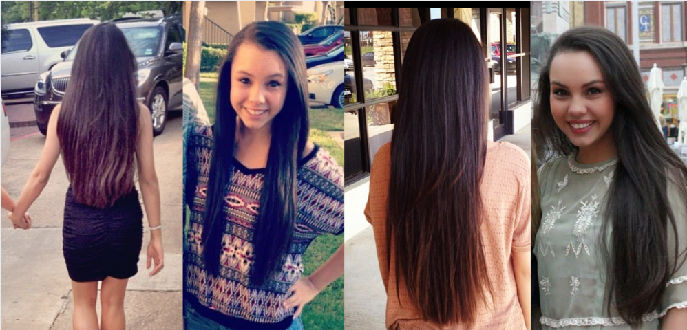 Girl with naturally curly hair straightened