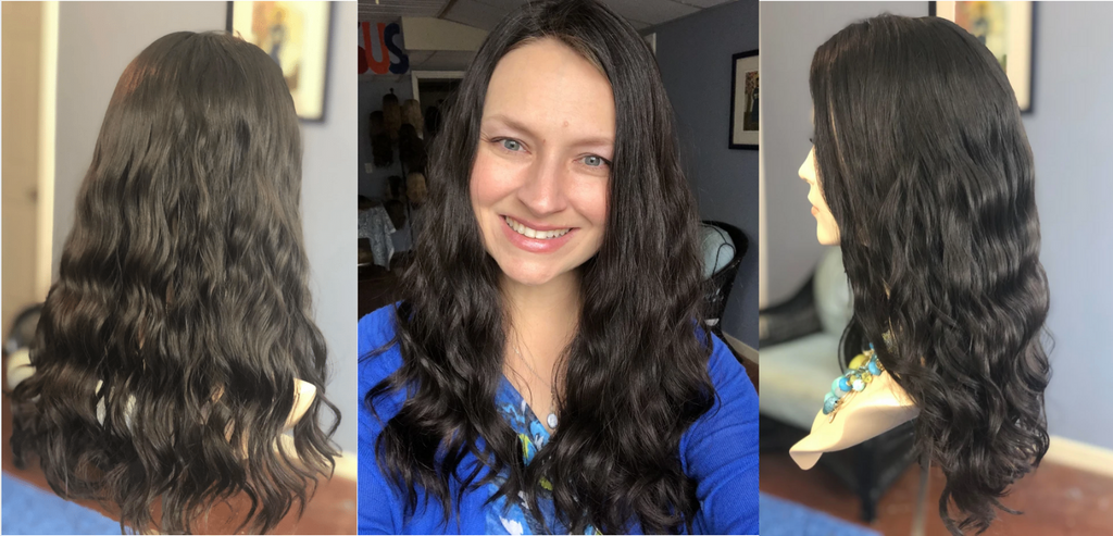 Curly human hair topper