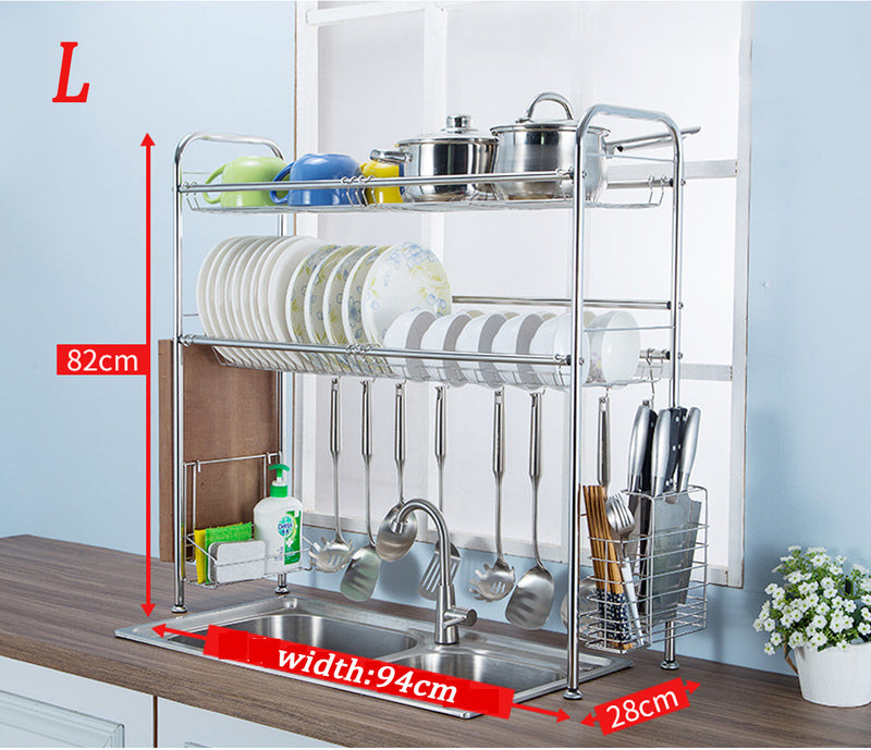 2-Tier Stainless Steel Stable Dish Drainer Shelf