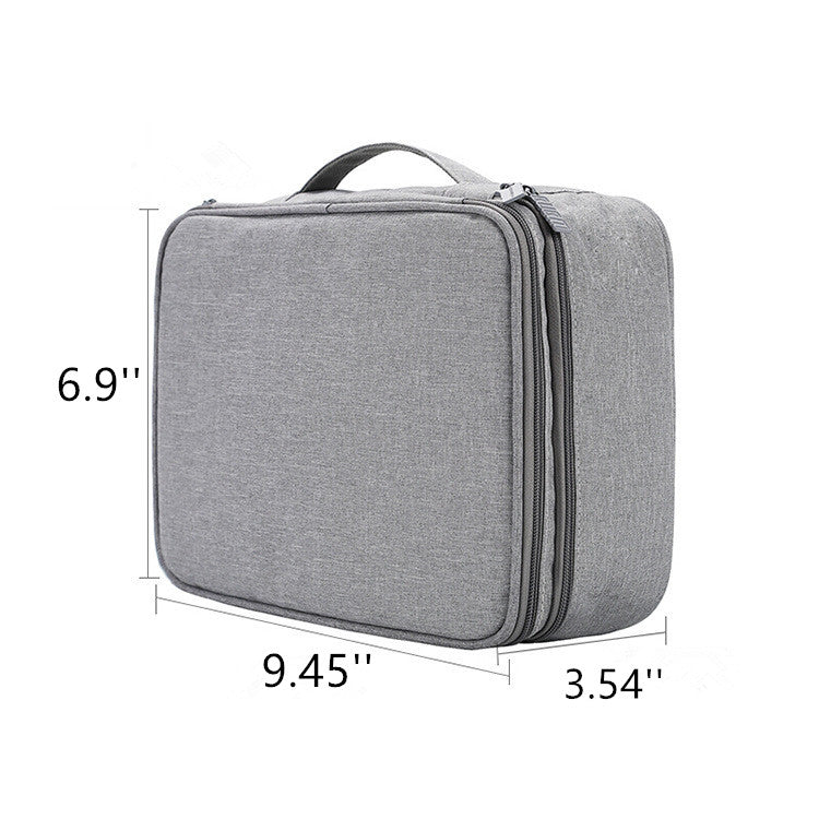 Electronics Organizer, Electronic Accessories Double Layer Travel Cable Organizer Cord ,Storage Bag for Cables(gray)
