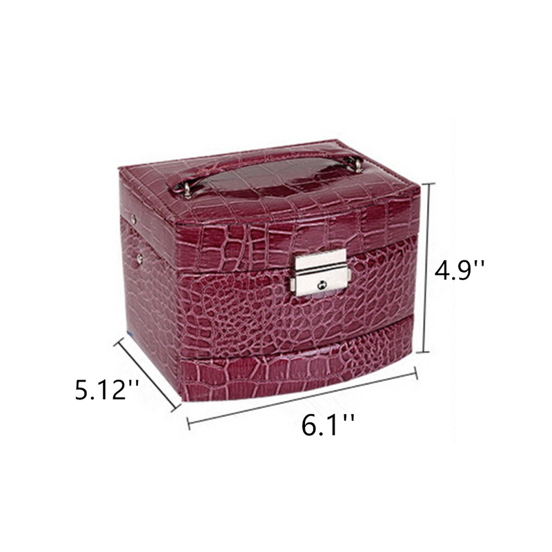 Girls Jewelry Boxes Red Multi-Layer PU Alligator Pattern Jewelry Box Earrings Ring Necklace Bracelet Storage Decorative Case Lock Mirror Portable