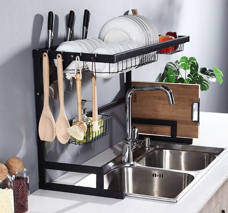 Ahappymall™——Over The Sink Dish Drying Rack ,black,With Utensils Holder