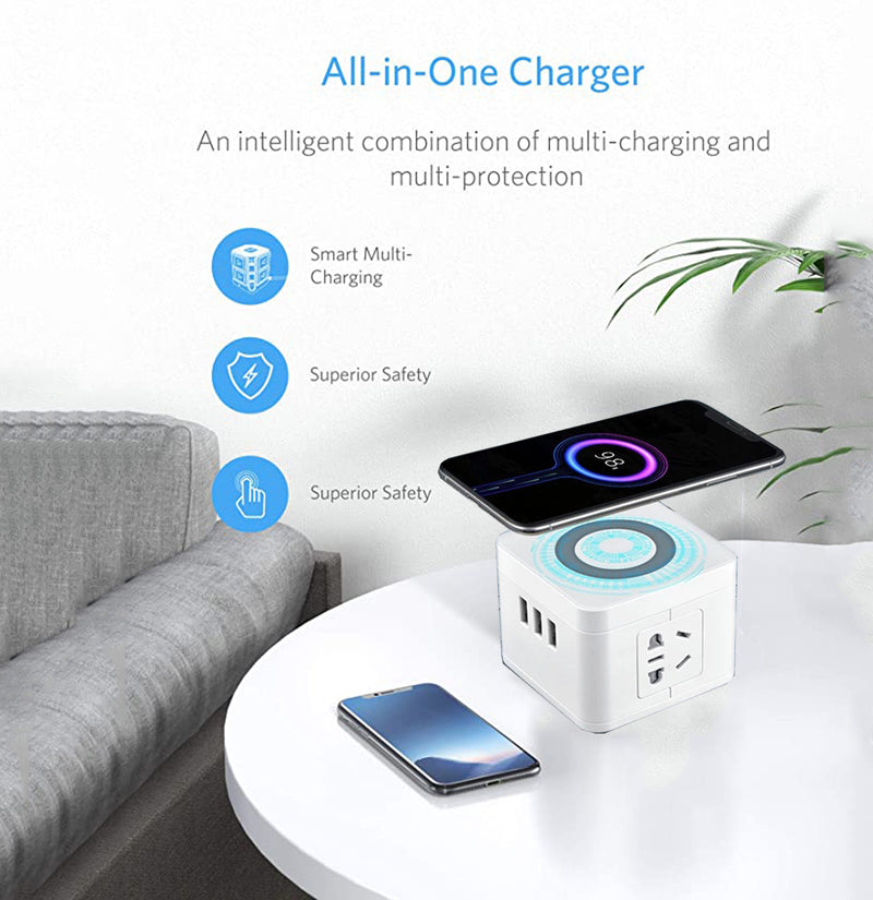 Ahappymall™ Wireless Charger 2-Outlet Power Strip