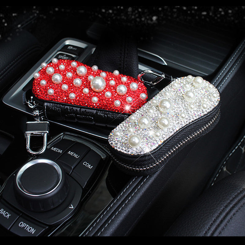 Car Key case Remote Control Leather Key Chain Bag Coin Holder Zipper Wallet, Shinny Diamond(size:2.17''×4.33'')