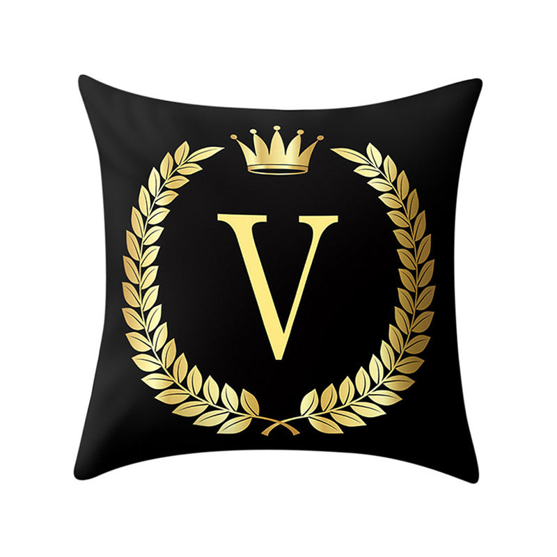 Meightai™ - Golden 24 letter Sofa  Decorative Pillow Cover