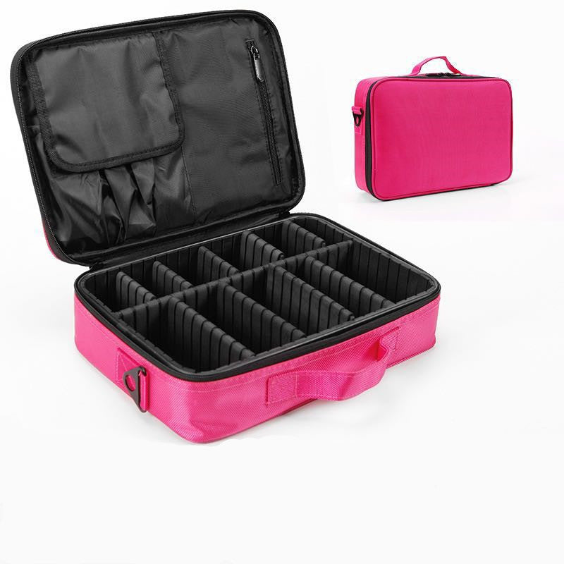Make-up tas 2 lagen Make-up Travel Cosmetic Case Gift: 5 Full-Cover Anti-Droplets gelaatsscherm