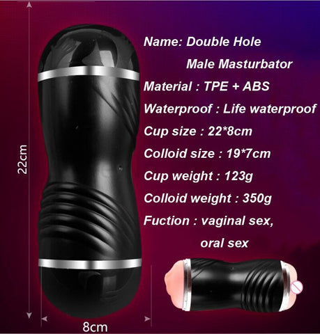 Dual Hole 3D Deep Throat Realistic Oral vagina Sex Toy for Man artificial Vagina Real Pussy no vibrator Male Masturbator for man