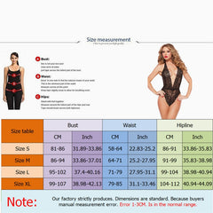 2020 Plus Size Women Open Crotch Halter Lace Bodysuits Transparent Femme Body Hot Sexy Jumpsuit Women Deep V Sheer Sexy Bodysuit