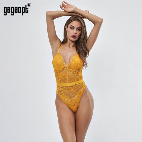Gagaopt 2020 Summer Lace Bodysuit Women Hollow Out Bodycon Sexy Bodysuit Jumpsuit Overalls Streetwear