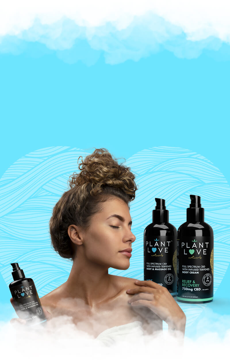 A woman using Plant Love Naturals topicals