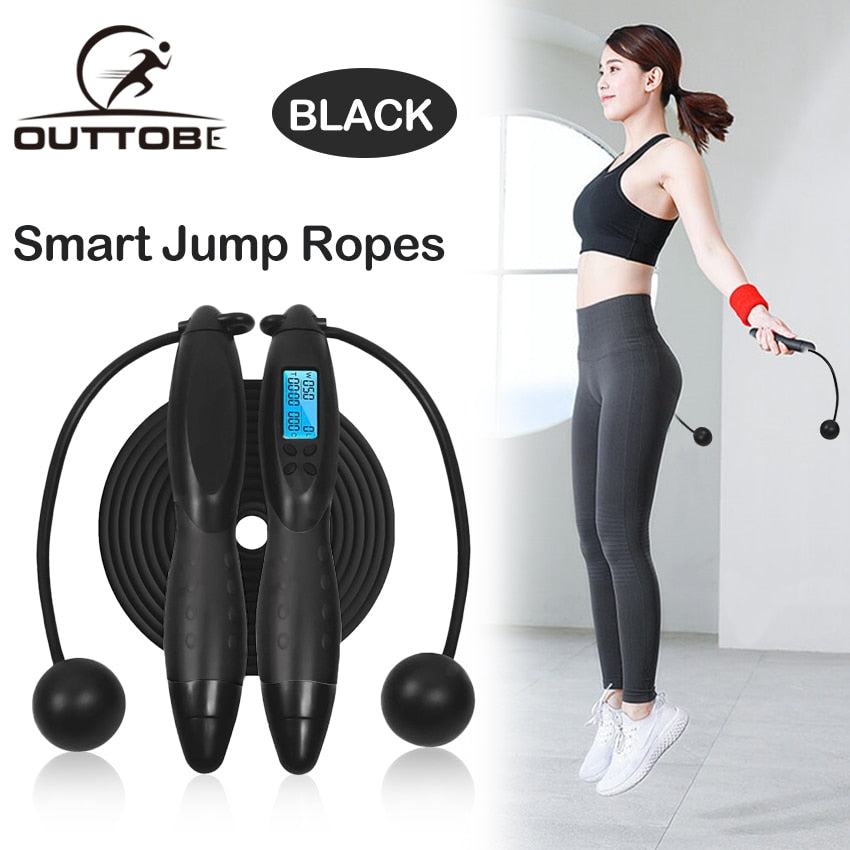 Smart Jump Rope  with Anti-Slip Hand Grip with Anti-Slip Hand Grip with LCD Screen Showing