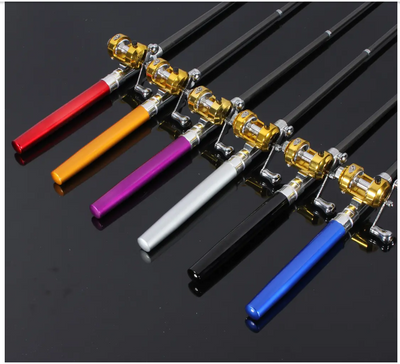 d.l rod™ Mini Telescopic Portable Pocket Pen Shape Aluminum Alloy Fishing Rod Reel Line Combos