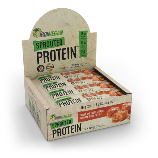 Iron Vegan Sprouted Protein Bar Sweet and Salty Caramel | Box with 12