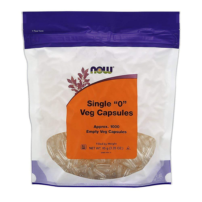 NOW Single 0 Empty Veg Capsules 95 g (Approx 1000 Capsules)