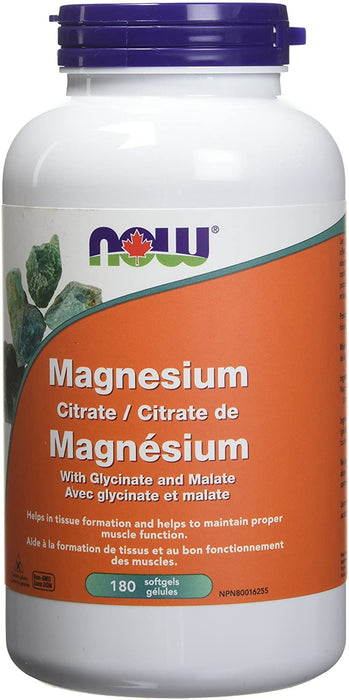 NOW Magnesium Citrate 180 Softgels