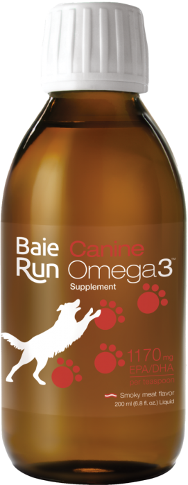 Baie Run Canine Omega 3 1170 mg EPA+DHA Smoky Meat Flavour 200 ml