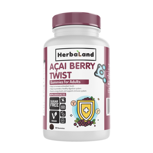 Herbaland Acai Berry Twist 90 Vegan Gummies For Adults (Sugar-Free)