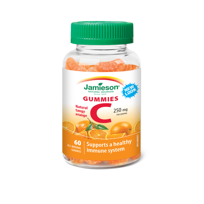 Jamieson Vitamin C Gummies Natural Tangy Orange 250 mg 60 Gummies