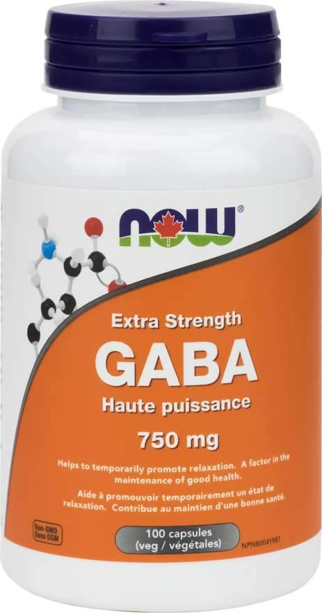 NOW Extra Strength Gaba 750 mg 100 Capsules