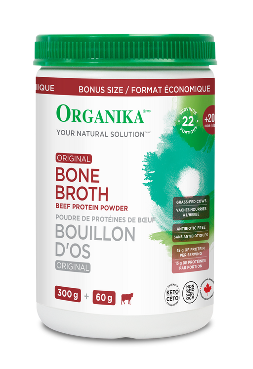 Organika Bone Broth Beef Protein Powder Bonus Size 360 g