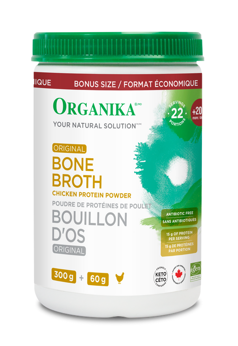 Organika Bone Broth Chicken Protein Powder Bonus Size 360 g