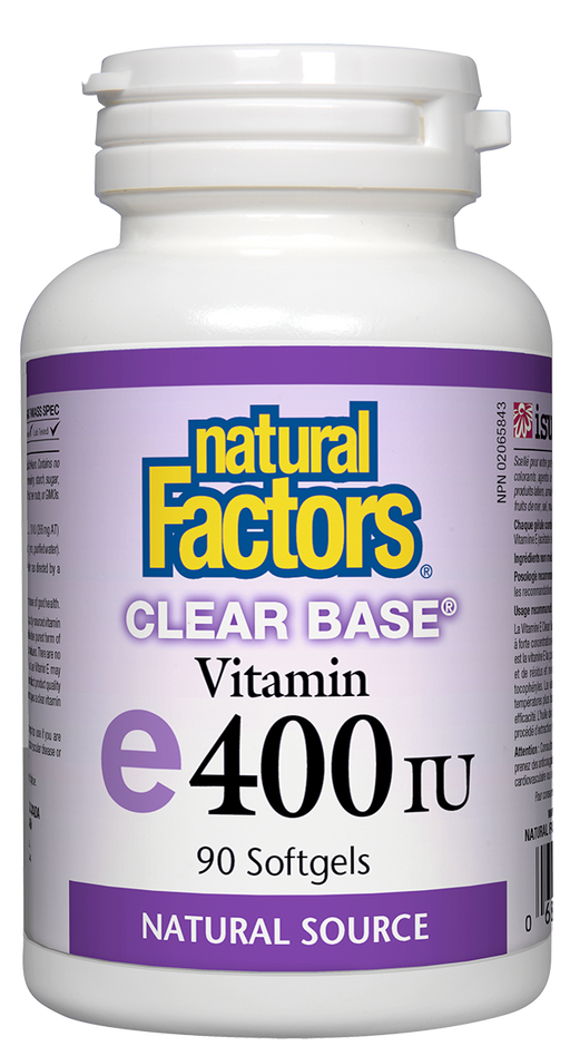 Natural Factors Vitamin E 400 IU Clear Base, 90 Softgels