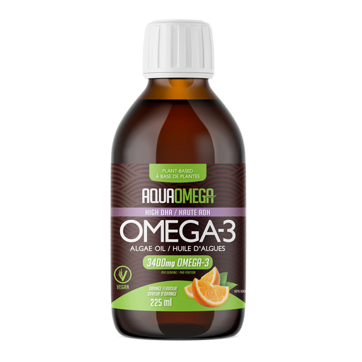 AquaOmega Plant-Based Omega 3 3400 mg Orange 225 mL