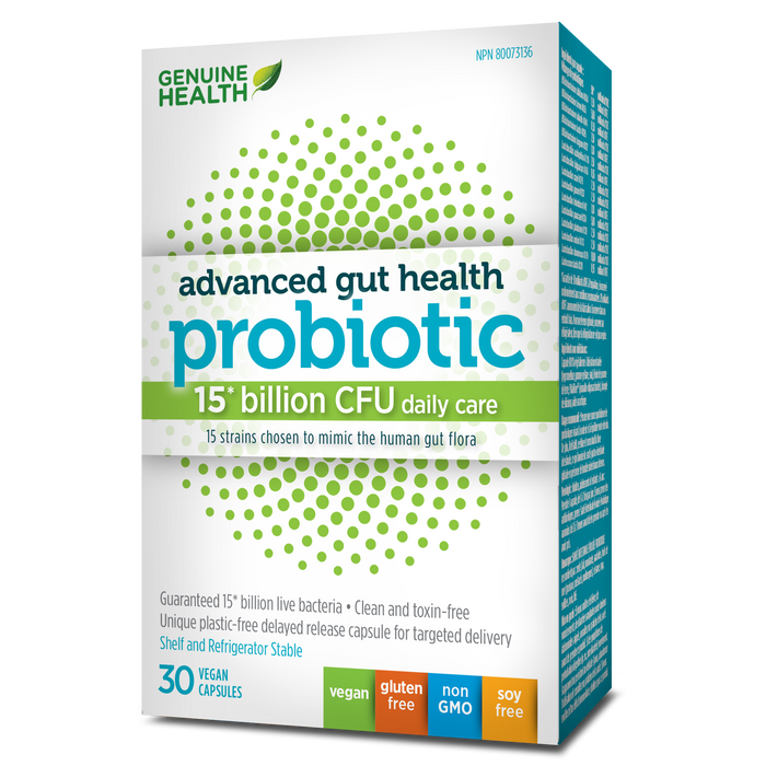 Genuine Health Advanced Gut Health Probiotics - 15 Billion CFU