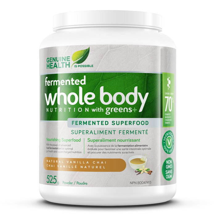 Genuine Health Fermented Whole Body Nutrition with Greens+ Natural Vanilla Chai