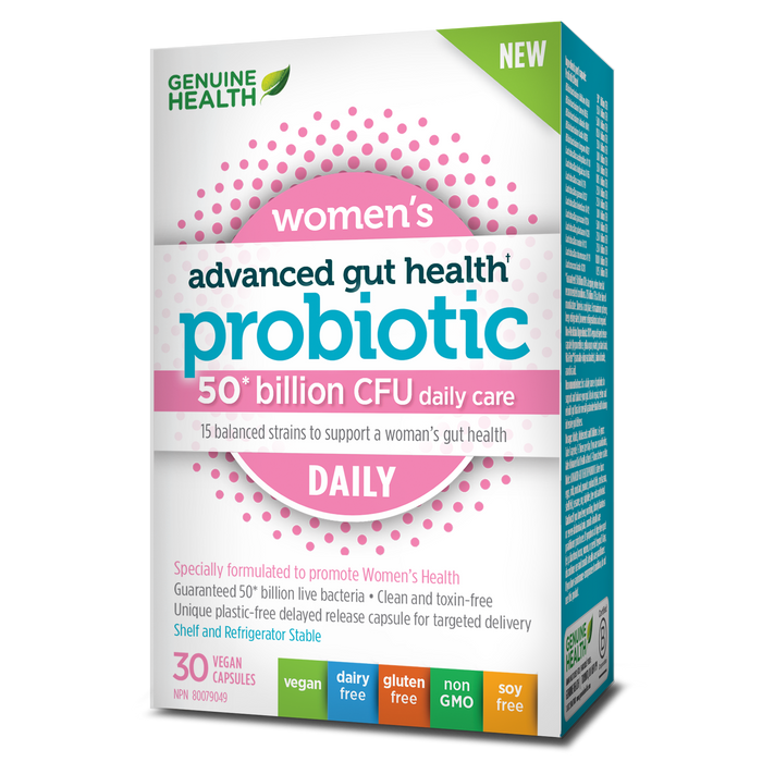 Genuine Health Advanced Gut Health Probiotic Women's Daily 50 Billion CFU 30 Capsules