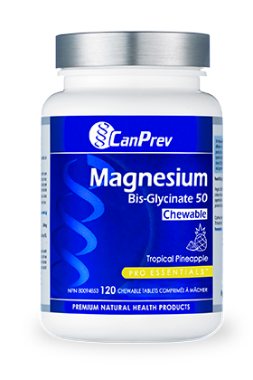 CanPrev Magnesium Bis-Glycinate 50 mg 120 Chewable Tablets