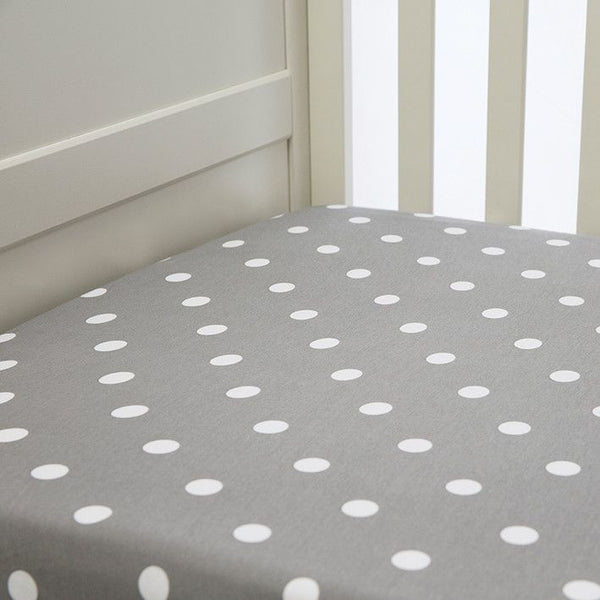 Lil Fraser - Cot Sheet Fitted 1 Piece - (Grey with White Polka Dots), , Bedding, L'il Fraser, Carry Them Close  - 1