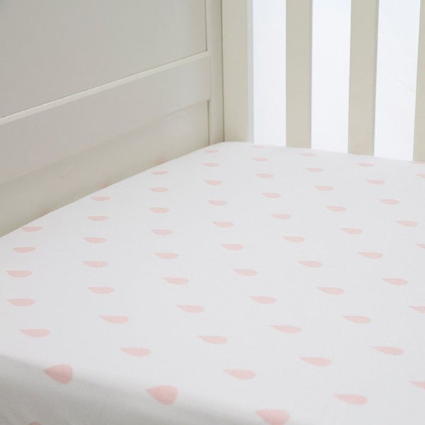 Lil Fraser - Cot Sheet Fitted 1 Piece - (Pink Raindrops), , Bedding, L'il Fraser, Carry Them Close  - 1