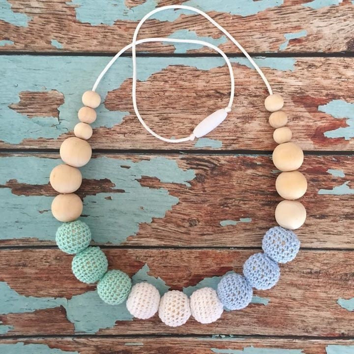 Crochet and Wood Bead Nursing Necklace - Blue/White/Mint Green, , Teething Necklace, Nature Bubz, Carry Them Close  - 1