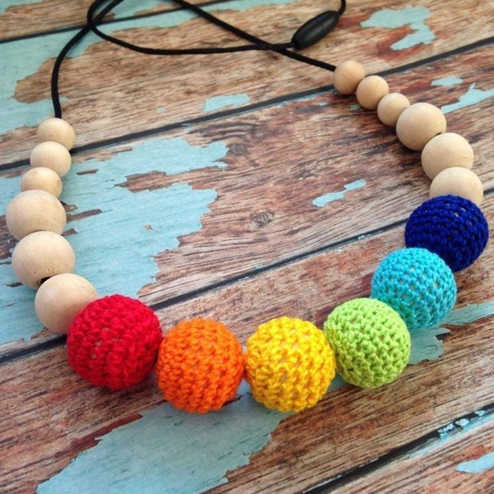 Crochet and Wood Bead Nursing Necklace - Rainbow - Teething Necklace - Nature Bubz - Carry Them Close