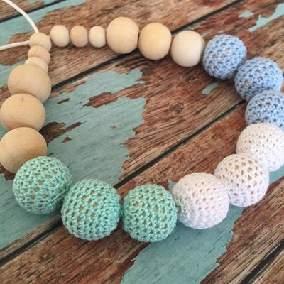 Crochet and Wood Bead Nursing Necklace - Blue/White/Mint Green - Teething Necklace - Nature Bubz - Afterpay - Zippay Carry Them Close