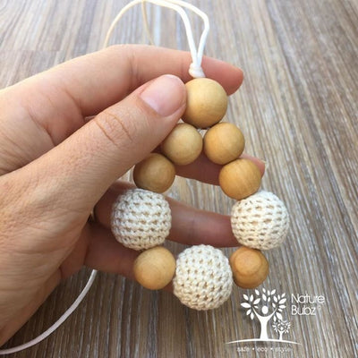 Crochet & Wood Tapered Drop Pendant - Teething Necklace - Nature Bubz - Afterpay - Zippay Carry Them Close