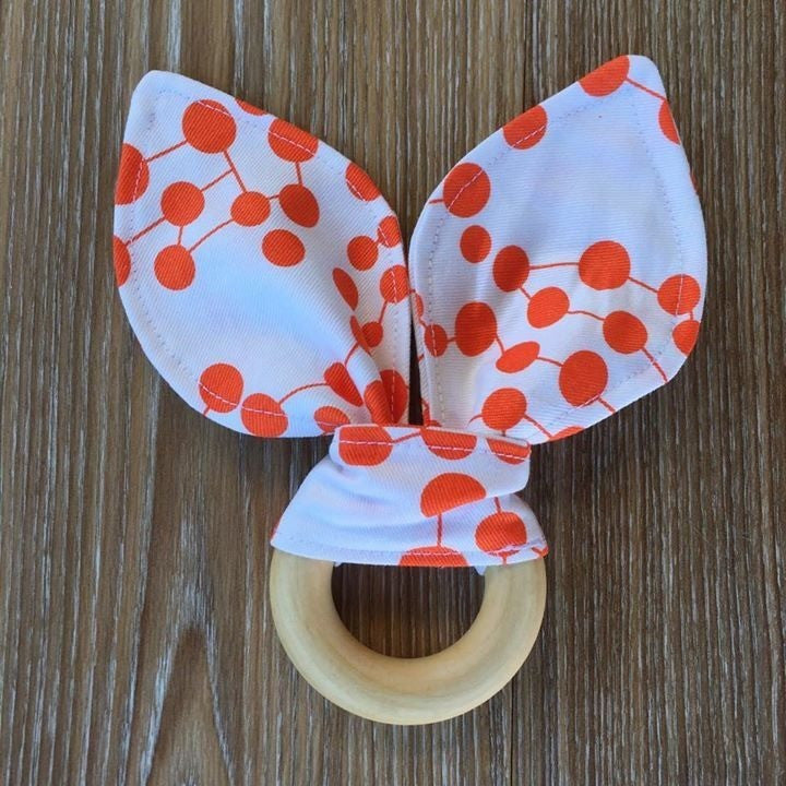 Bunny Ear Teether 'Orange & White' - Teething Necklace - Nature Bubz - Carry Them Close