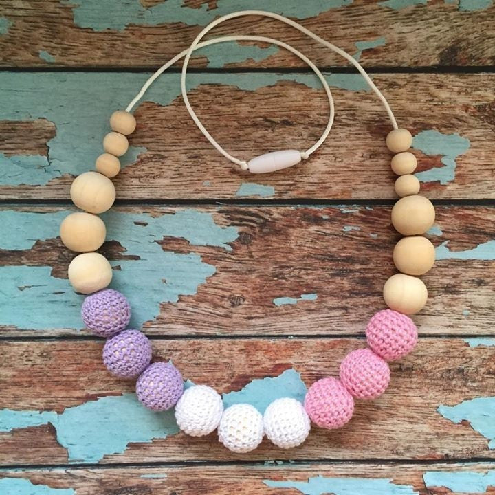 Crochet and Wood Bead Nursing Necklace - Pink/White/Lavender - Teething Necklace - Nature Bubz - Carry Them Close