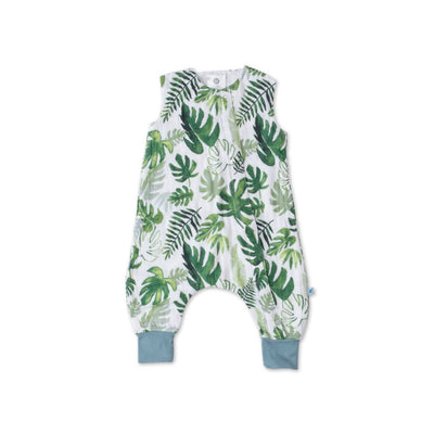 Little Unicorn - Cotton Muslin Sleep Romper - Tropical Leaf